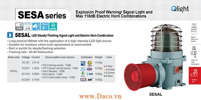 SESAL-WM-220-G-LC Đèn phòng nổ có loa Qlight Φ167 Bóng LED 5 âm melody 118dB IP66-IECEx-ATEX-NEPSI-KIMM-KOSHA-ABS-CCS-KR