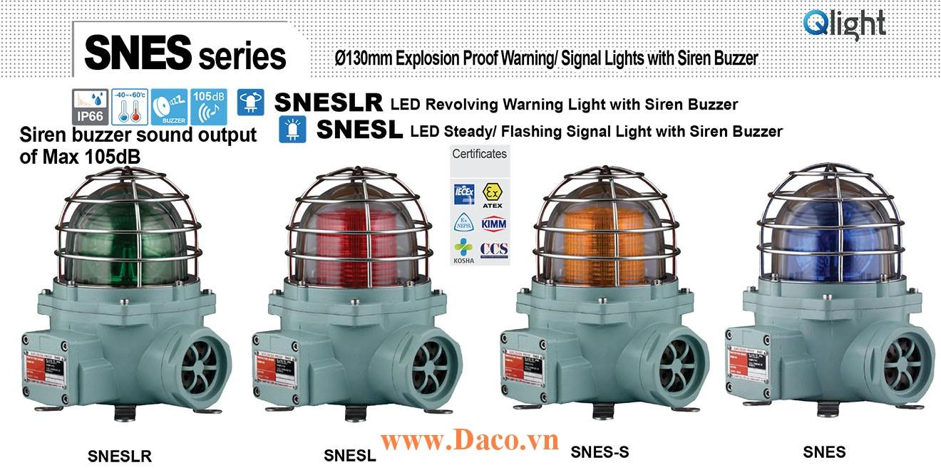 SNES-220-G Đèn phòng nổ quay có Còi Qlight Φ152 Bóng Sợi đốt Siren Buzzer 105dB IP66-IECEx-ATEX-NEPSI-KIMM