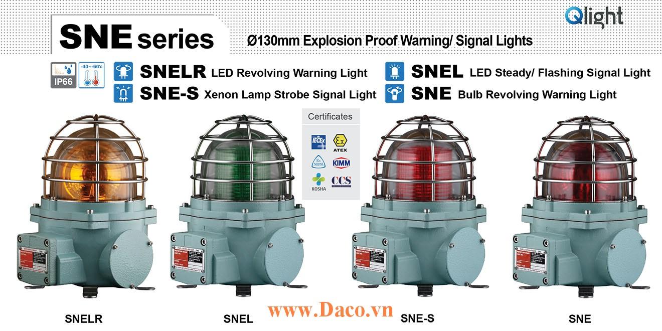 SNE-220-B Đèn quay tín hiệu phòng nổ Qlight Φ152 Bóng Sợi đốt Quay IP66-IECEx-ATEX-NEPSI-KIMM, 220VAC
