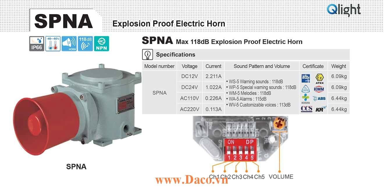 SPNA-WA-220-LC Loa báo hiệu phòng nổ Qlight 5 âm Cảnh báo 116dB IP66, IECEx, ATEX, NEPSI, KIMM, KOSHA, ABS, CCS, KR, 220VAC