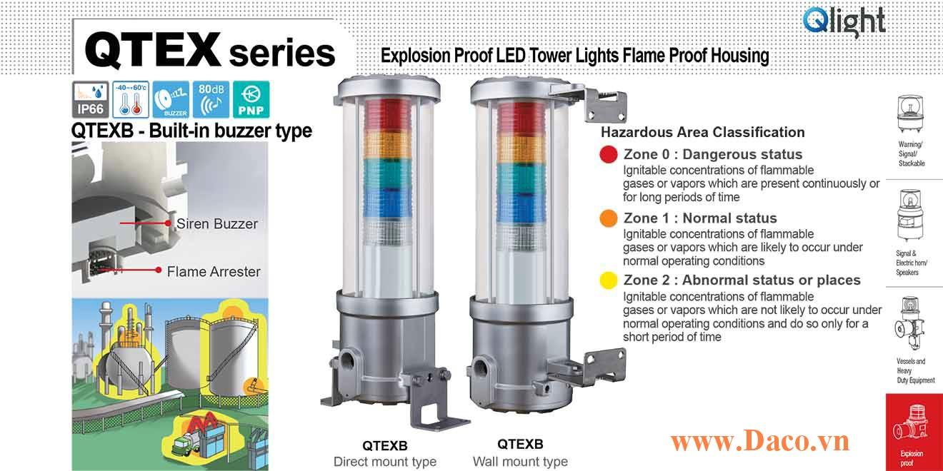 QTEXB-5-220-RAGBW Đèn tháp phòng nổ Qlight Φ144 Bóng LED 5 tầng Còi Siren Buzzer 80dB IECEx, Ex d IIC T6, IP66, Zone 0