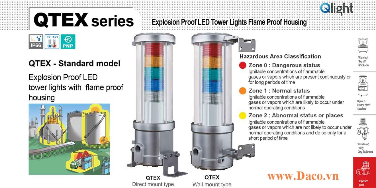 QTEX-5-220-RAGBW Đèn tháp phòng nổ Qlight Φ144 Bóng LED 5 tầng IECEx, Ex d IIC T6, IP66, Zone 0