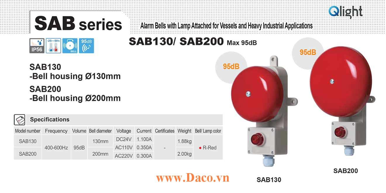 SAB200-220-CG Chuông báo động có đèn báo Qlight Chuông 400-600Hz, 95dB IP56, 220VAC