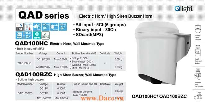 QAD100BZC-110/220 Còi báo hiệu Qlight gắn tường Còi Buzzer 105dB IP65, 110VAC/220VAC