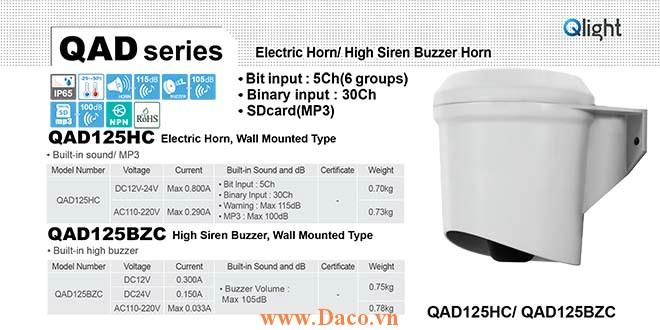 QAD125BZC-110/220 Còi báo hiệu Qlight gắn tường Còi Buzzer 105dB IP65, 110VAC/220VAC
