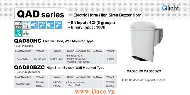 QAD80BZC-24 Còi báo hiệu Qlight gắn tường Còi Buzzer 105dB IP65, 24VDC