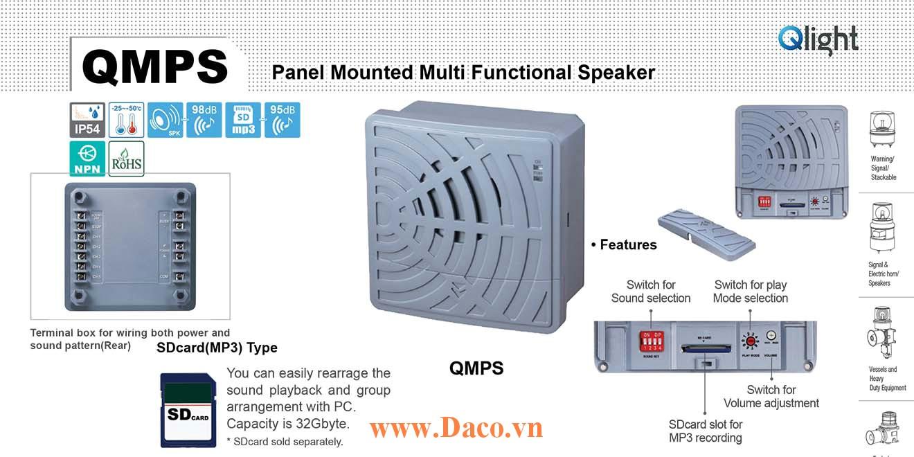 QMPS-110/220 Loa còi báo hiệu Qlight 30 âm gắn tủ điện 30 âm báo 98dB MP3 IP54, 110VAC/220VAC