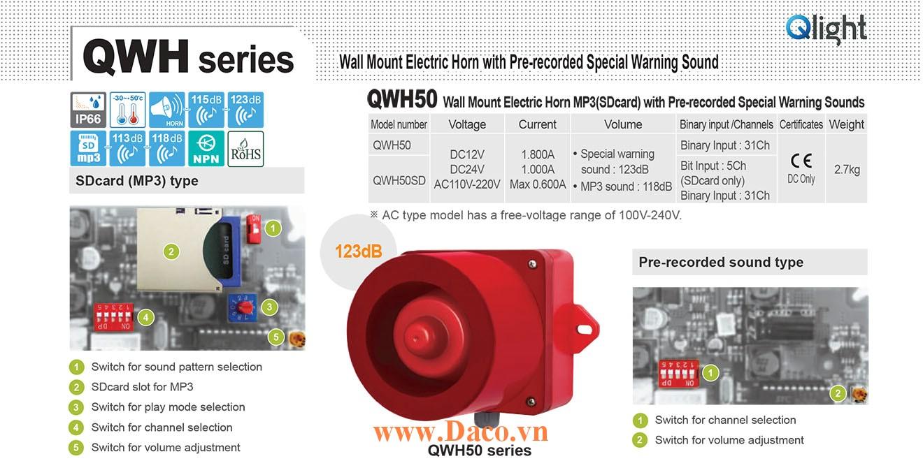 QWH50SD-110/220-LC Loa còi báo hiệu mp3 Qlight 5 âm báo nhạc 118dB IP66, CE, 110VAC/220VAC
