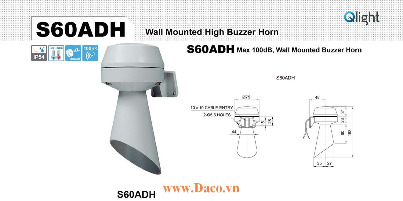 S60ADH-220 Còi báo hiệu Qlight gắn tường Buzzer 100dB IP54, 220VAC