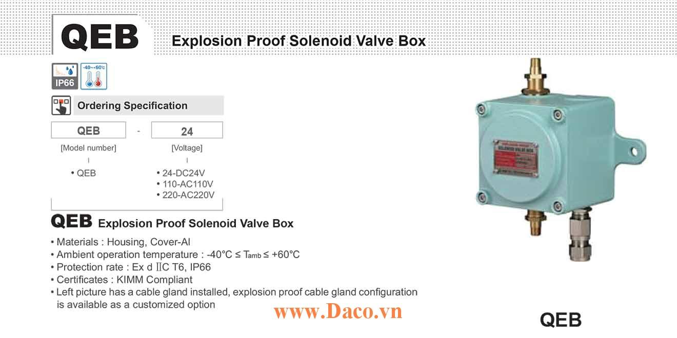 QEB-220 Hộp Van Còi hơi phòng nổ Qlight 130dB KIMM, IP66, Ex d II C T6, 220VAC