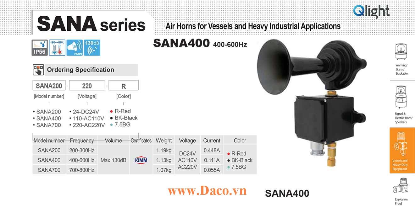 SANA400-220-BK Còi hơi báo động Qlight Còi hơi 400-600Hz, 130dB KIMM, IP56, 220VAC