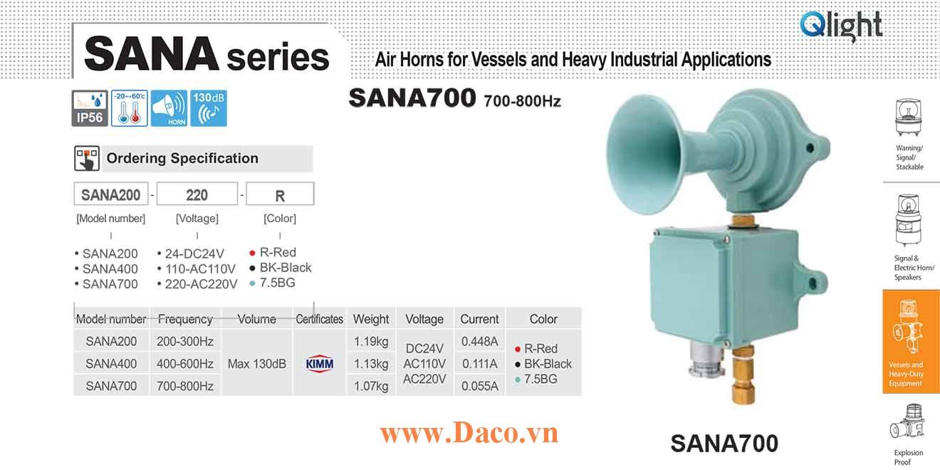 SANA700-220-7.5BG Còi hơi báo động Qlight Còi hơi 700-800Hz, 130dB KIMM, IP56, 220VAC