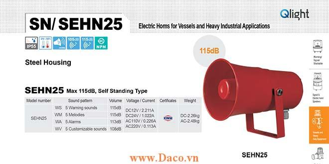 SEHN25-WA-220-LC Loa còi báo Qlight 5 âm Cảnh báo 113dB IP55, KIMM, 220VAC