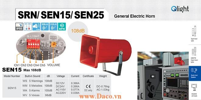 SEN15-WA-220-LC Loa còi cảnh báo Qlight 5 âm Cảnh báo 105dB IP55, CE, 220VAC