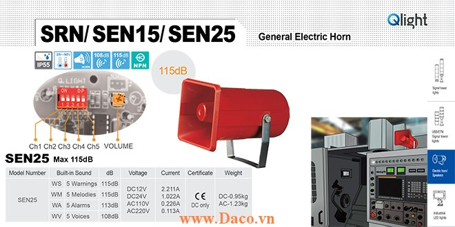 SEN25-WA-220-LC Loa còi cảnh báo Qlight 5 âm Cảnh báo 113dB IP55, CE, 220VAC