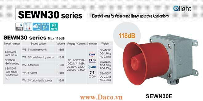 SEWN30E-WS-220-LC Loa còi cảnh báo Qlight 5 âm báo động 118dB IP56-KIM-ABS-CCS, 220VAC