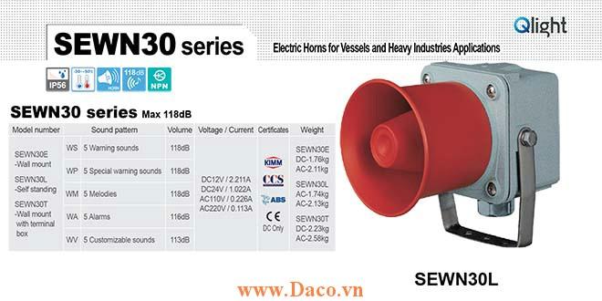 SEWN30L-WA-220-LC Loa còi cảnh báo Qlight 5 âm Cảnh báo 116dB IP56-KIM-ABS-CCS, 220VAC