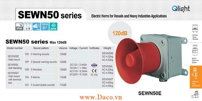 SEWN50E-WS-220-LC Loa còi cảnh báo Qlight 5 âm báo động 120dB IP56-KIM-ABS-CCS, 220VAC