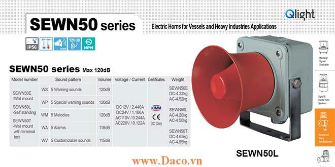 SEWN50L-WA-220-LC Loa còi cảnh báo Qlight 5 âm Cảnh báo 118dB IP56-KIM-ABS-CCS, 220VAC