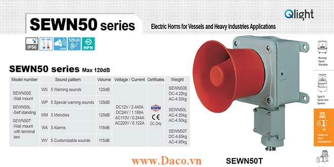 SEWN50T-WA-220-LC Loa còi cảnh báo Qlight 5 âm Cảnh báo 118dB IP56-KIM-ABS-CCS, 220VAC