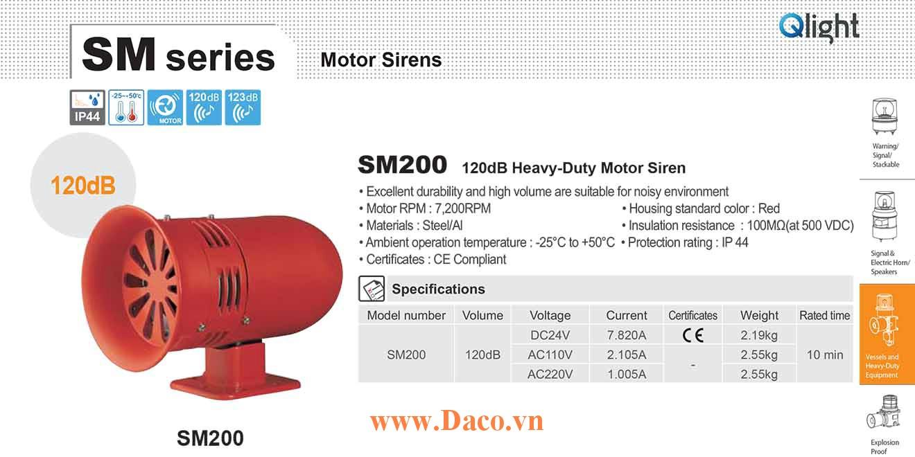 SM200-24 Còi báo động Qlight bằng động cơ Âm báo động bằng động cơ 120dB IP44, 24VDC