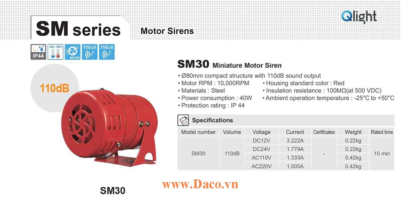 SM30-24 Còi báo động Qlight bằng động cơ Âm báo động bằng động cơ 110dB IP44, 24VDC
