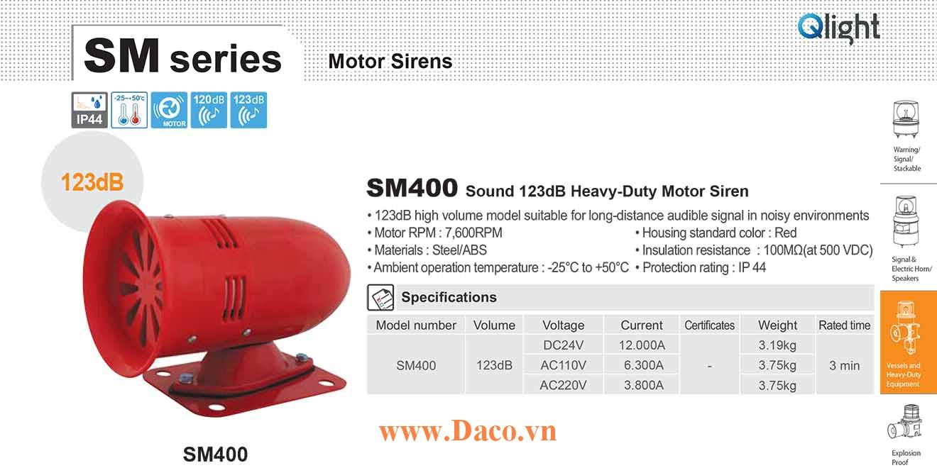 SM400-220 Còi báo động Qlight bằng động cơ Âm báo động bằng động cơ 123dB IP44, 220VAC