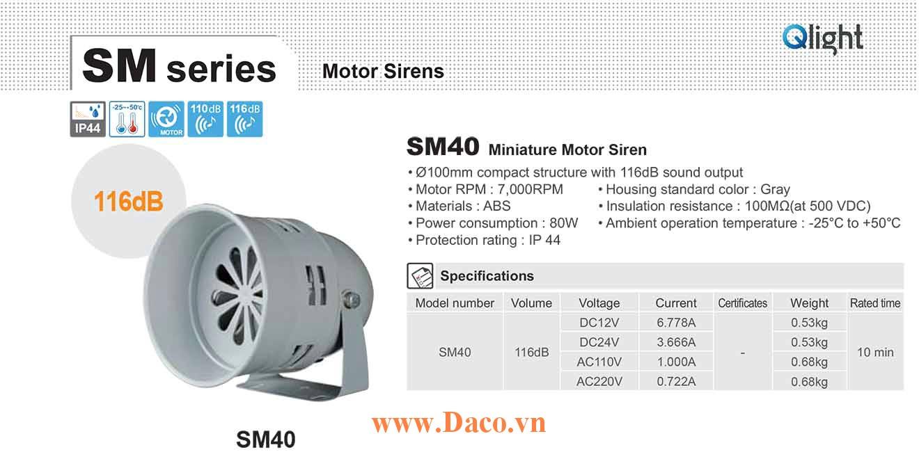 SM40-220 Còi báo động Qlight bằng động cơ Âm báo động bằng động cơ 116dB IP44, 220VAC