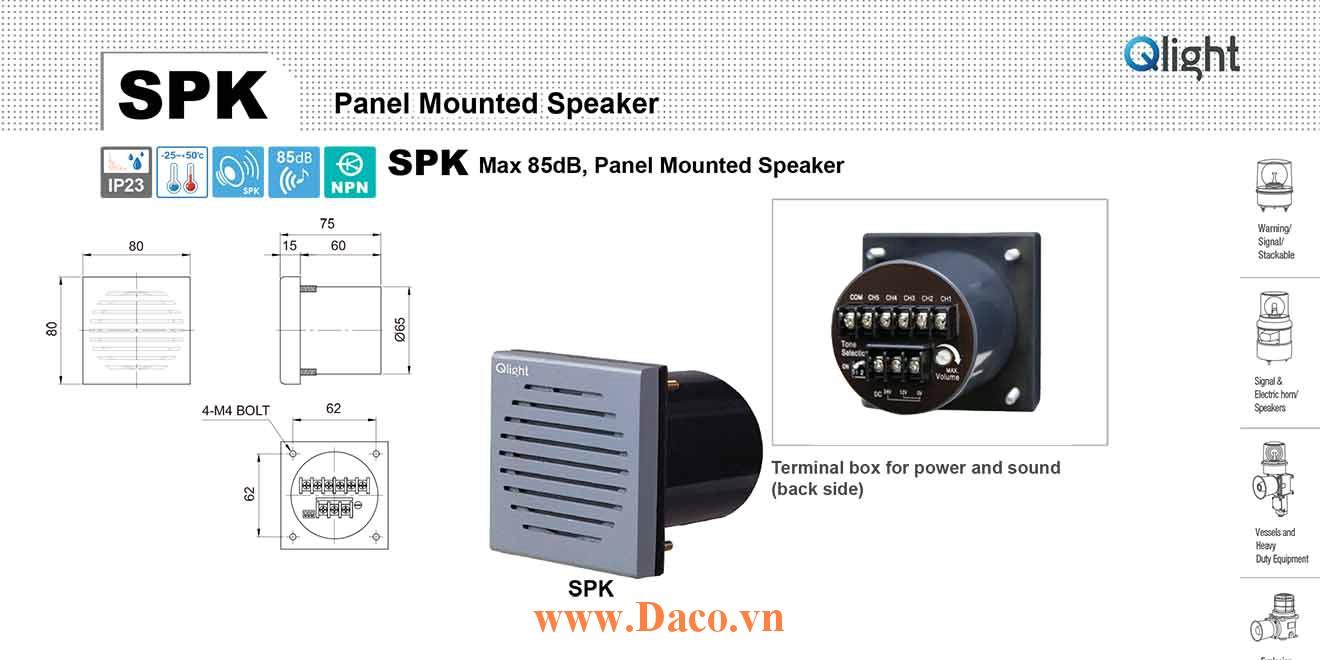 SPK-WA-220 Loa báo hiệu Qlight gắn tử điện 5 âm Cảnh báo 83dB IP23, 220VAC