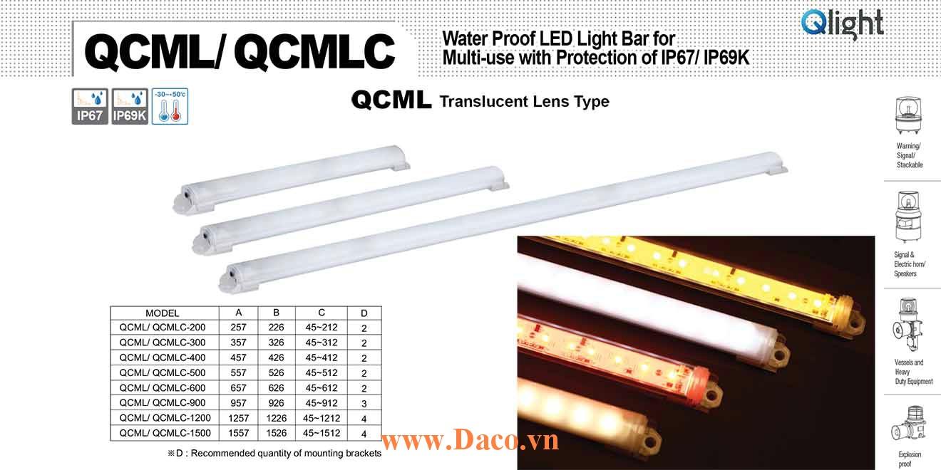 QCMLC-1500 Đèn LED chống nước Qlight Bóng LED Dài 1500 mm IP67/IP69K