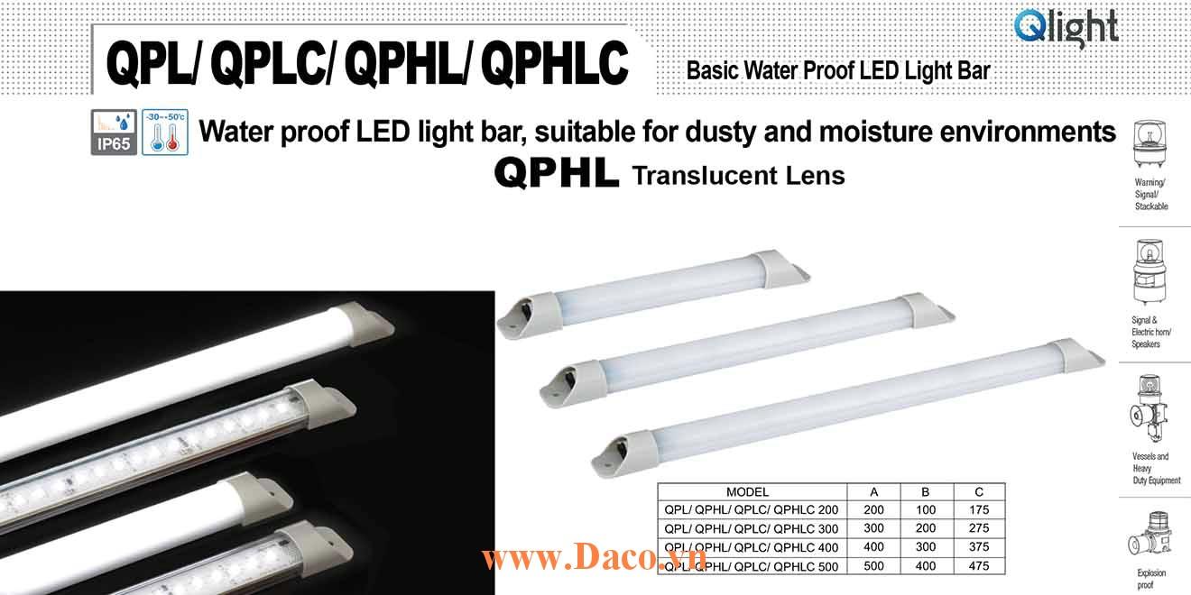 QPHL-500 Đèn LED chống nước Qlight Bóng LED Dài 500 mm IP65