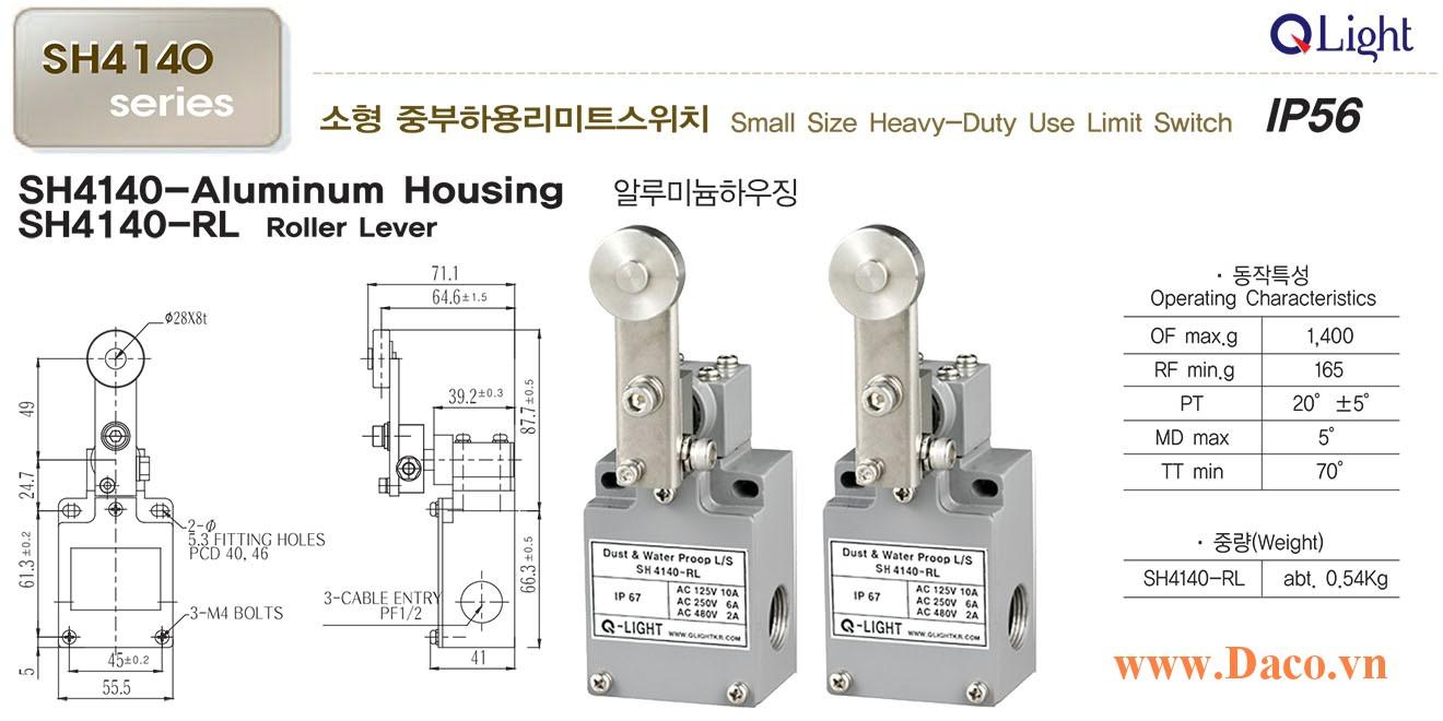 Công tắc hành trình nhỏ SH4140-RL Qlight Chống nước, chống bụi IP56
