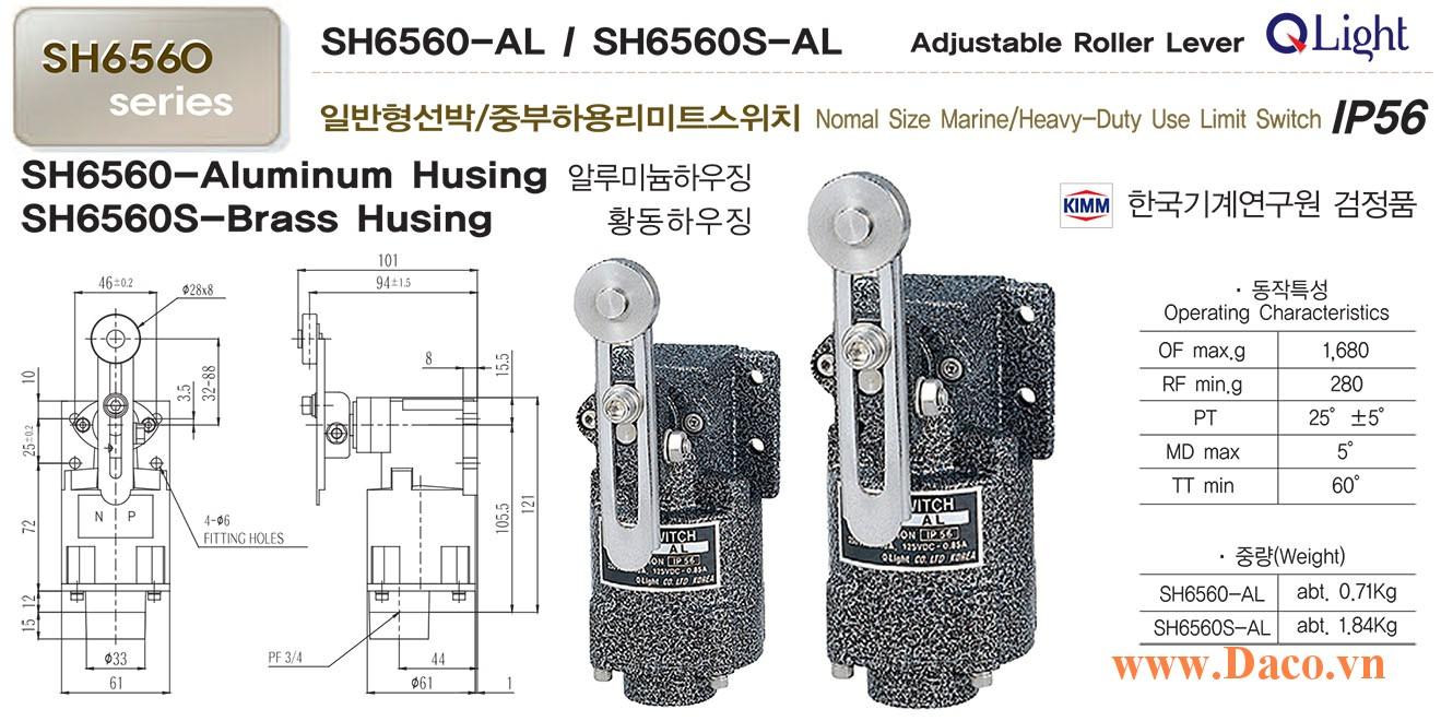 Công tắc hành trình Marine nhỏ SH6560-AL Qlight Chống nước, chống dầu, chống ăn mòn IP56, KIMM