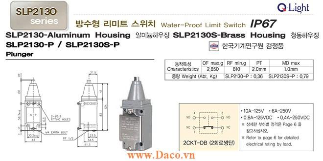 Công tắc hành trình SLP2130-P Qlight Chống nước, dầu mỡ, ăn mòn IP67, KIMM