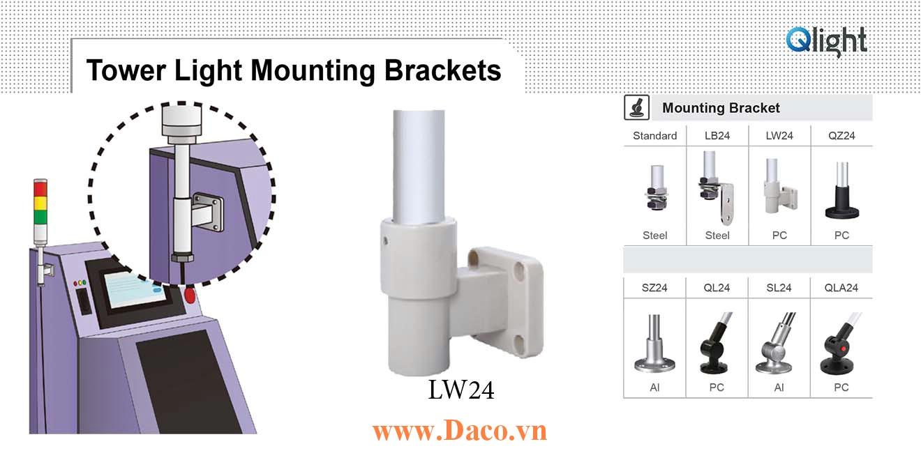 LW24 Chân gá đèn báo Qlight Gắn tường Φ24 Nhựa PC