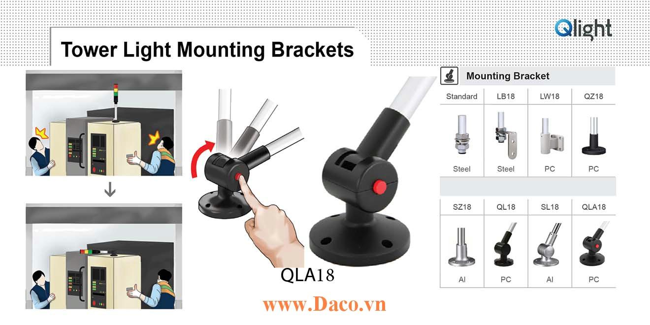 QLA18 Chân gá đèn báo Qlight Bát trụ tròn xoay có khóa Φ18 Nhựa PC