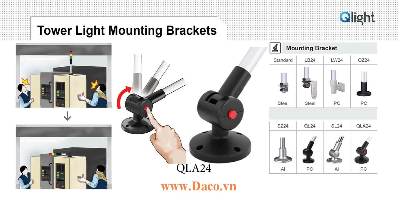 QLA24 Chân gá đèn báo Qlight Bát trụ tròn xoay có khóa Φ24 Nhựa PC