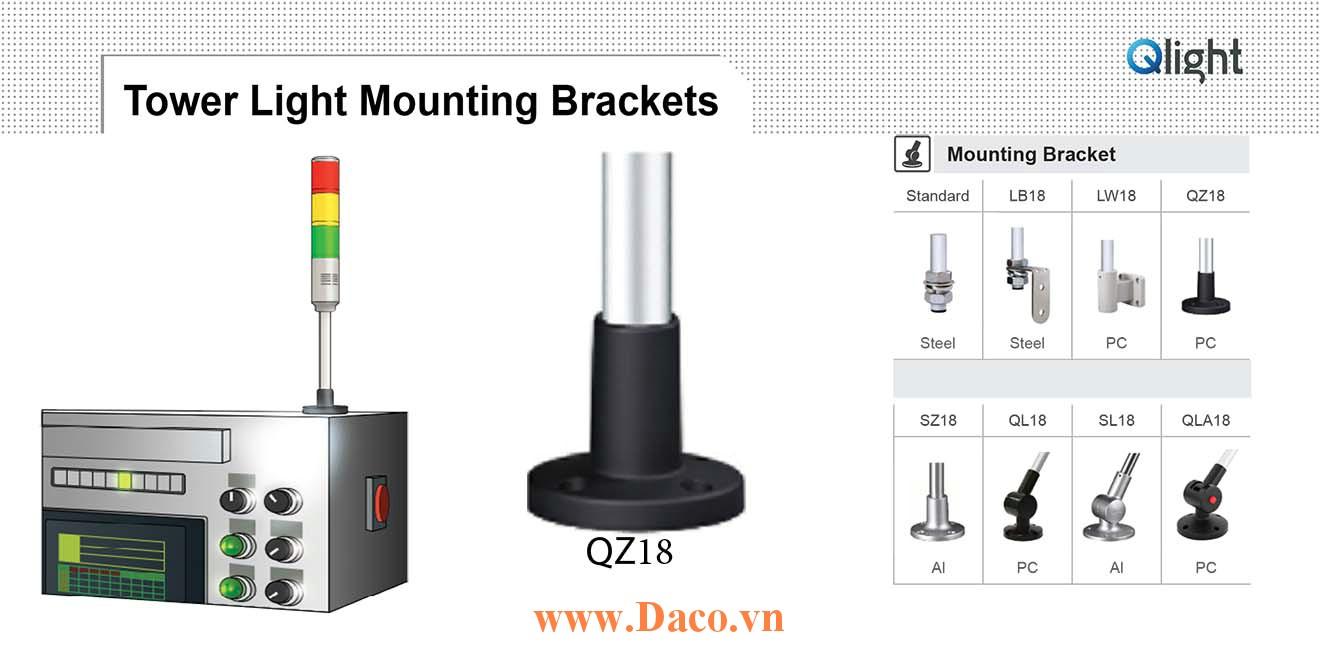 QZ18 Chân gá đèn báo Qlight Bát trụ tròn Φ18 Nhựa PC
