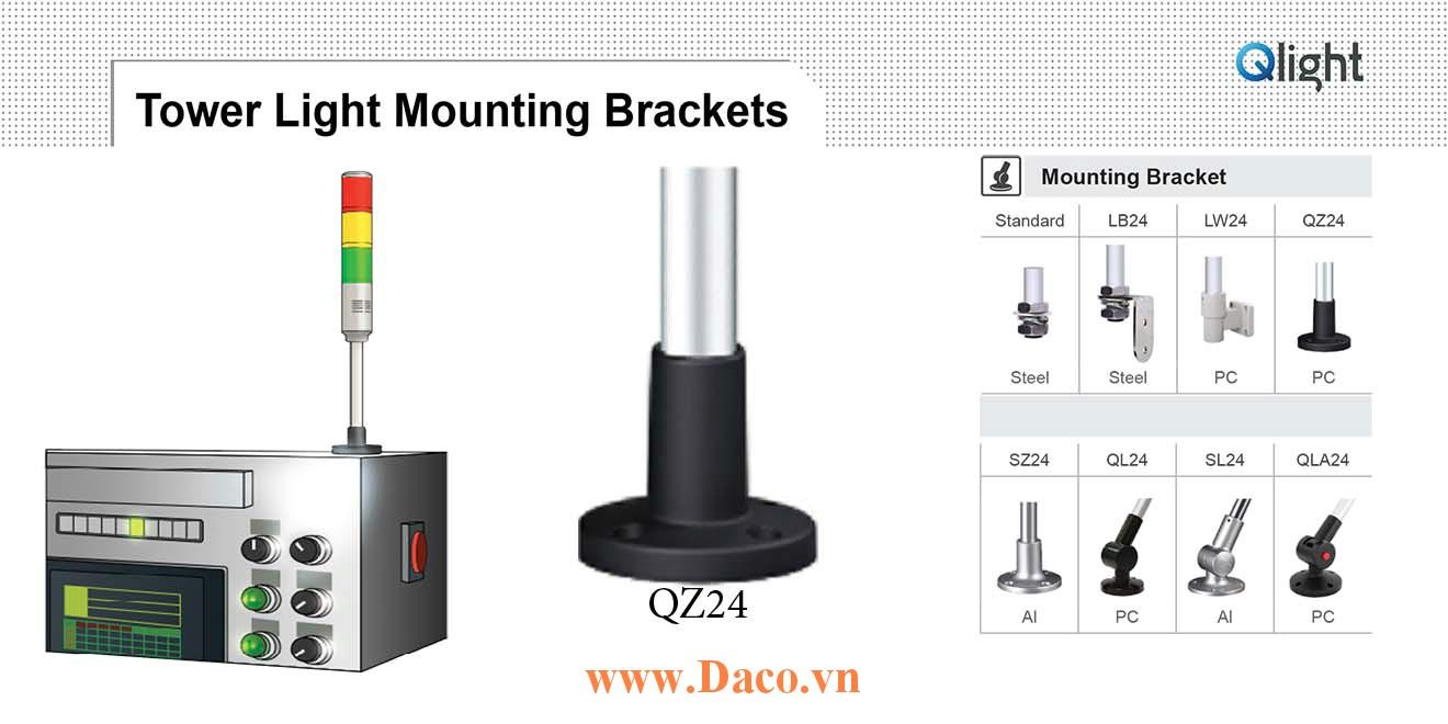 QZ24 Chân gá đèn báo Qlight Bát trụ tròn Φ24 Nhựa PC