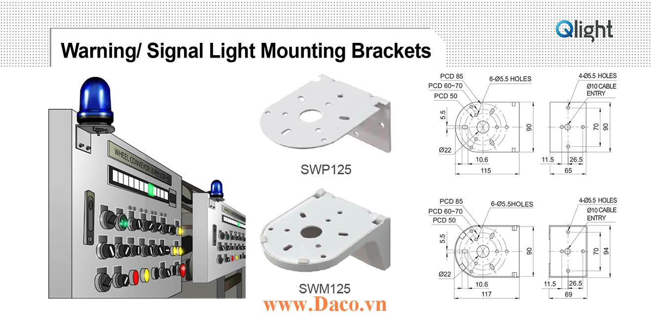 SWM125 Chân gá đèn báo Qlight Gá chữ L gắn tường Nhựa PC