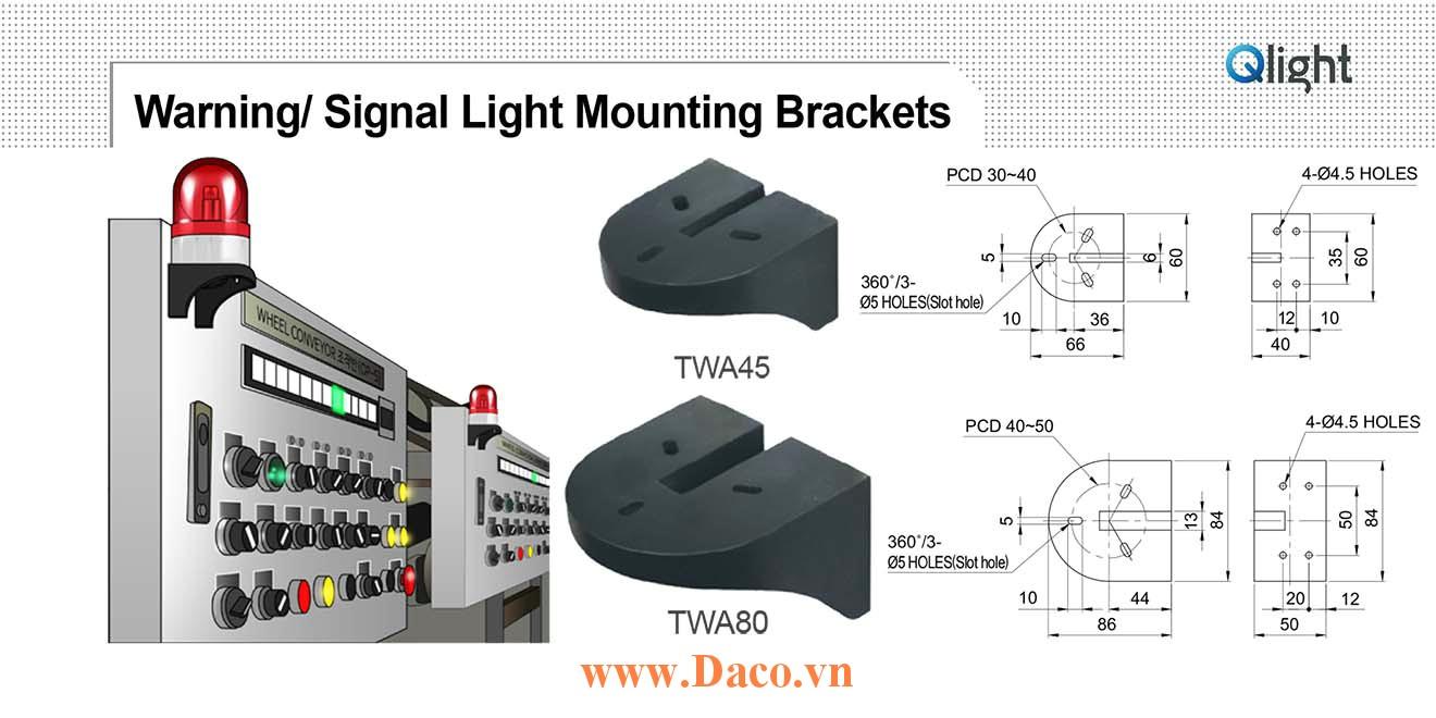 TWA80 Chân gá đèn báo Qlight Gá chữ L gắn tường Nhựa PC