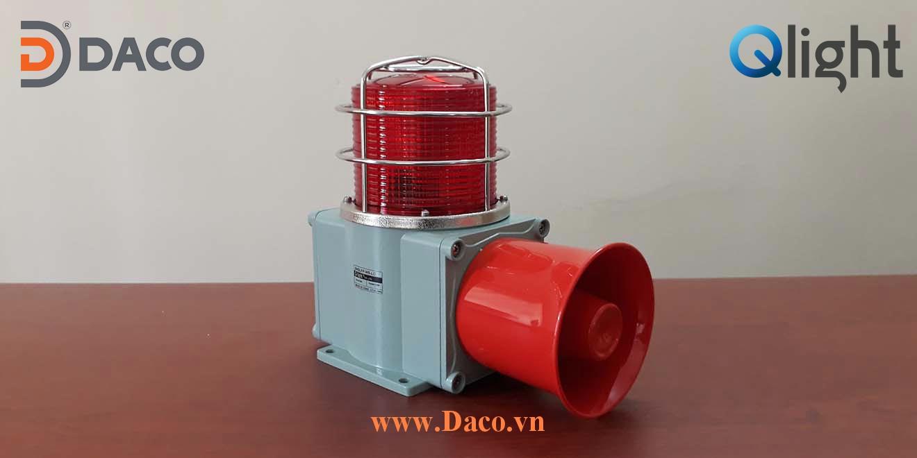 Hình ảnh thực tế SHD Đèn cảnh báo có loa báo tín hiệu Qlight Hàn Quốc