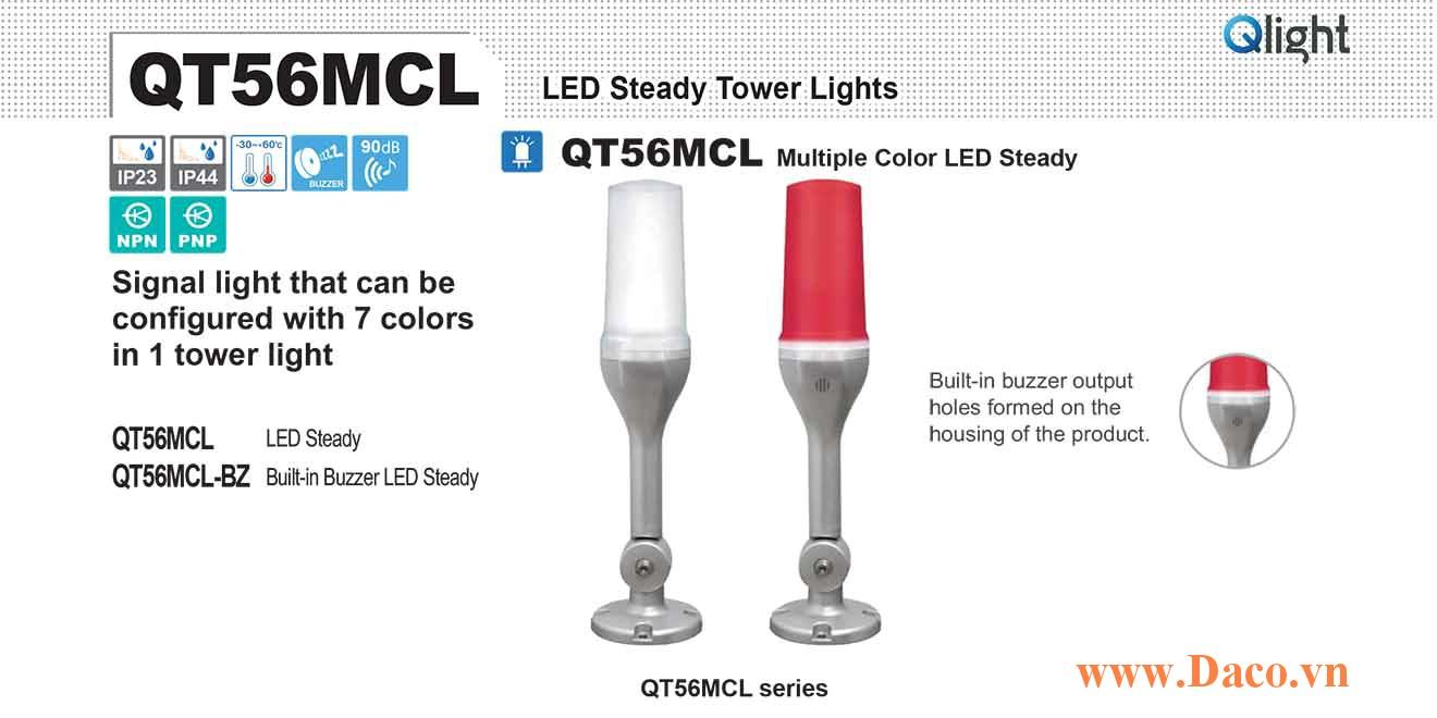 QT56MCL-BZ-24 Đèn tháp 7 màu báo hiệu Qlight Φ56 Bóng LED 7 Màu Còi Buzzer 90dB IP23