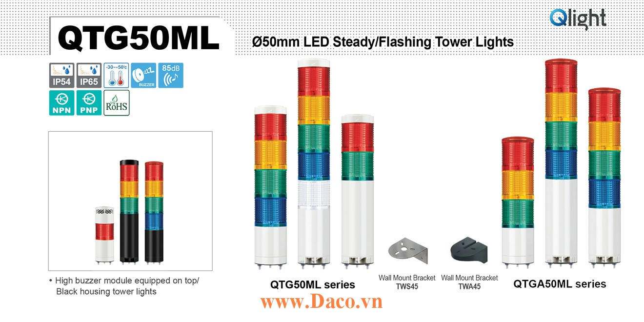 QTG50MLF-BZ-5-110/220-RAGBW Đèn tháp báo hiệu Qlight Φ50 Bóng LED 5 Màu Còi Buzzer 85dB IP54