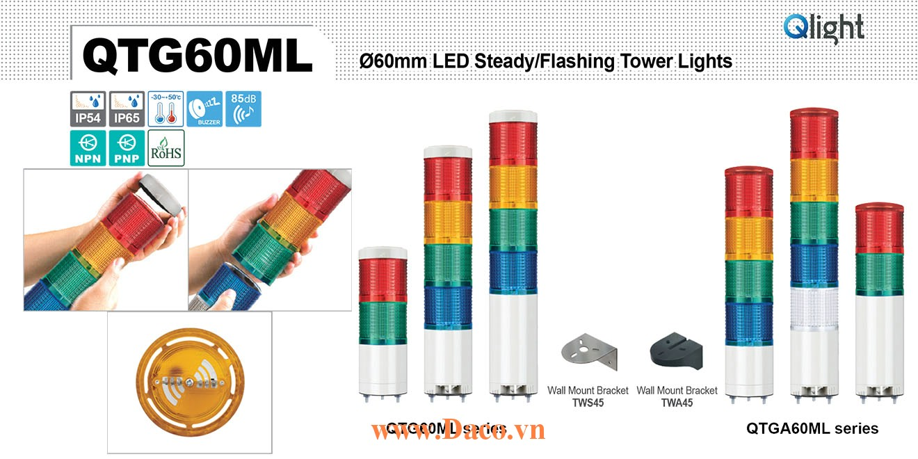 QTG60MLF-BZ-5-110/220-RAGBW Đèn tháp báo hiệu Qlight Φ60 Bóng LED 5 Màu Còi Buzzer 85dB IP54