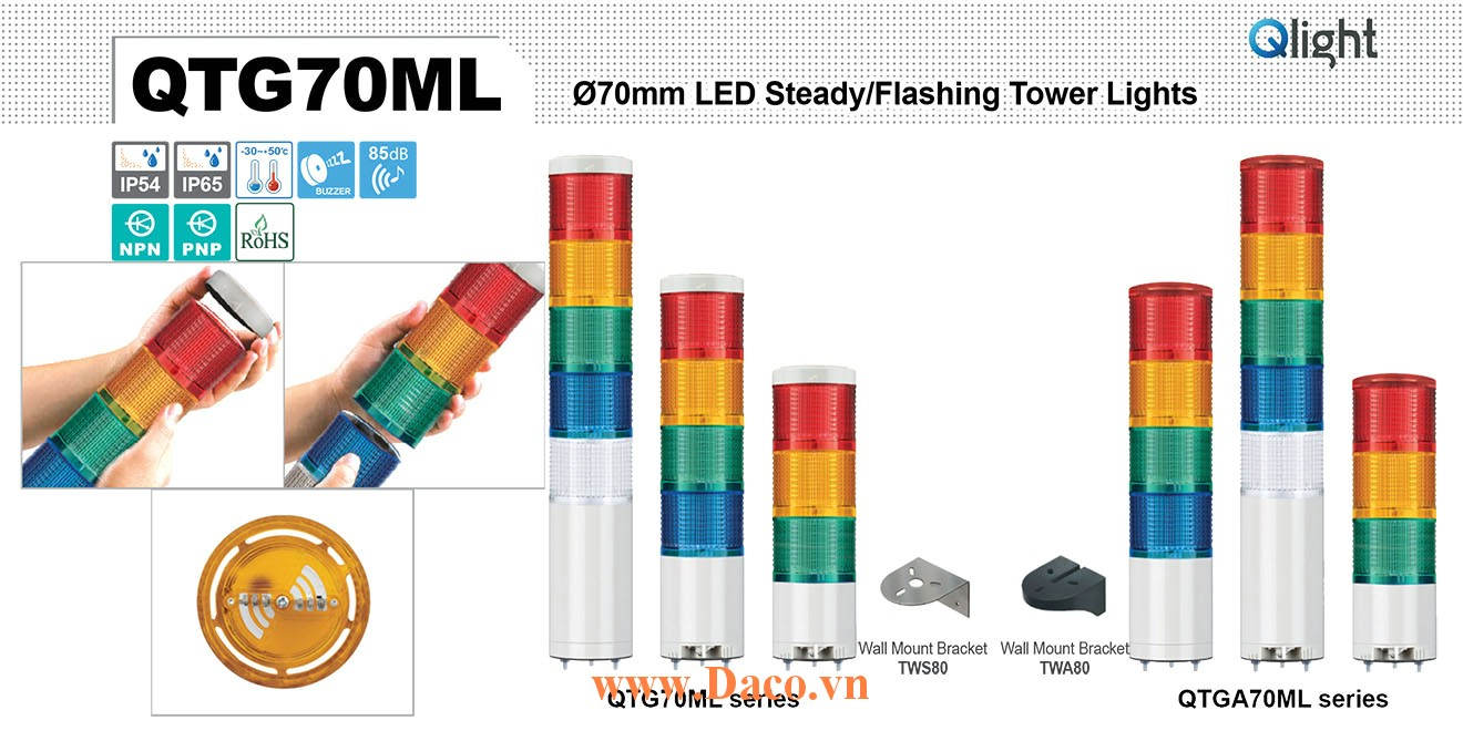 QTG70MLF-BZ-5-110/220-RAGBW Đèn tháp báo hiệu Qlight Φ70 Bóng LED 5 Màu Còi Buzzer 85dB IP54