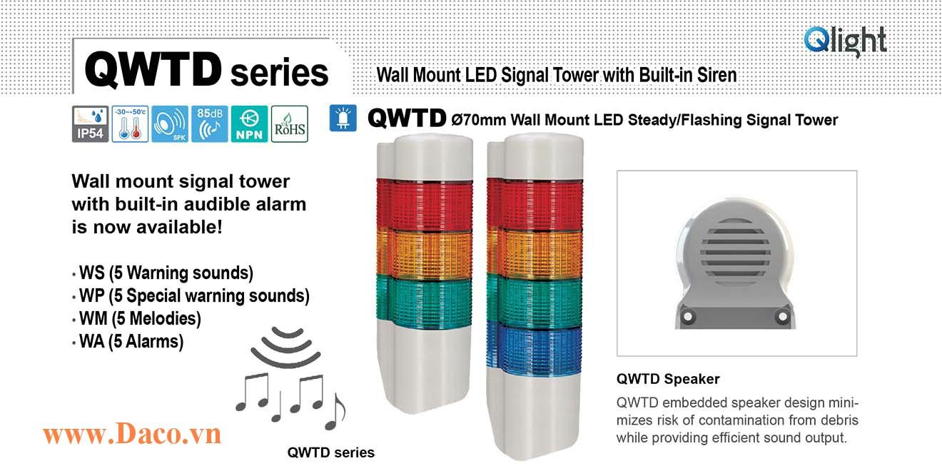 QWTDLF-WM-5-220-RAGBW Đèn tháp gắn tường Qlight Φ70 Bóng LED 5 Màu 5 âm báo nhạc Melody 85dB IP54