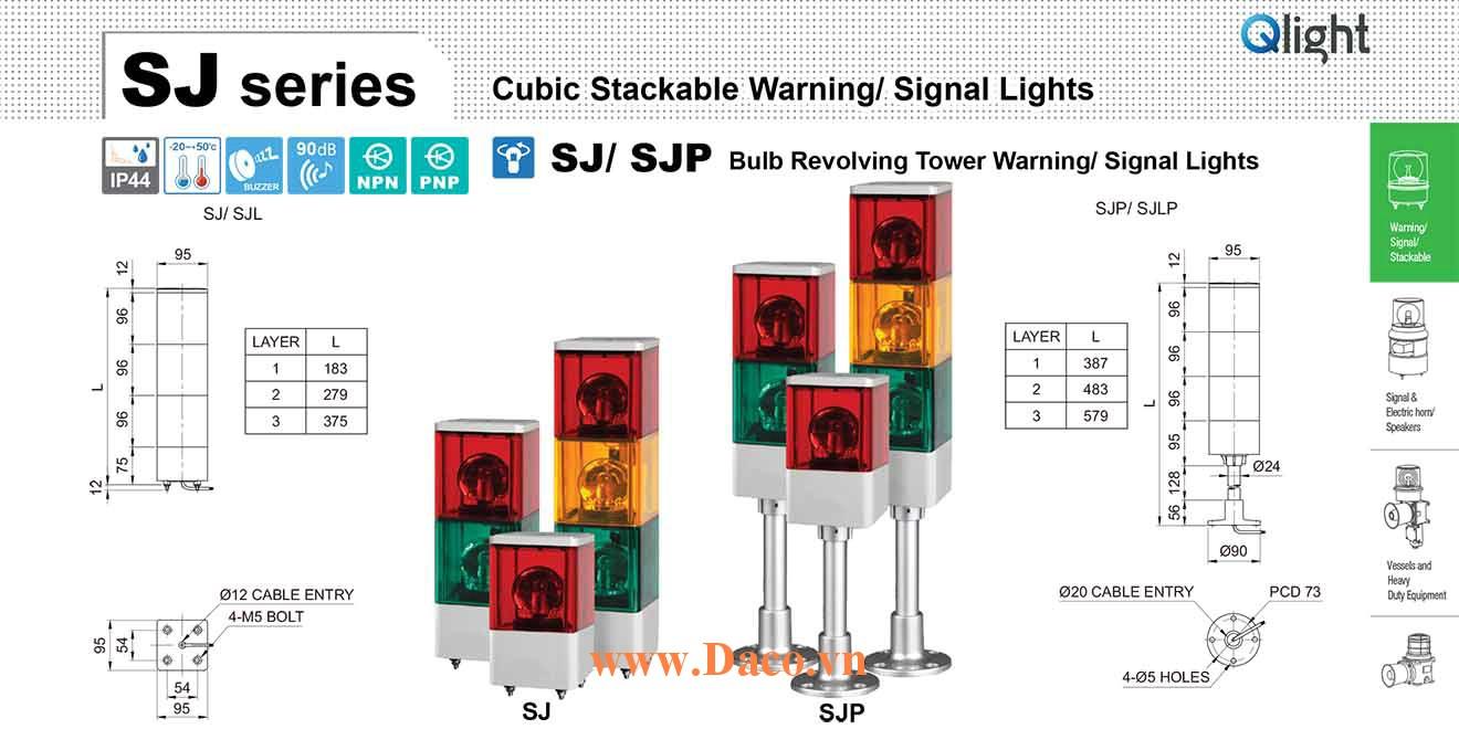 SJP-BZ-3-220-RAG Đèn tháp vuông quay Qlight 3 tầng Vuông 95mm Bóng Sợi đốt 220VAC IP44