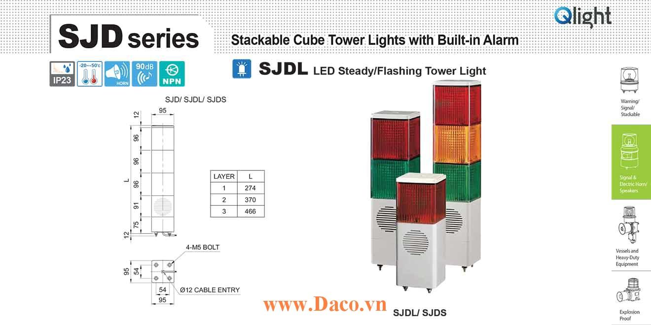 SJDL-WV-3-220-RAG Đèn tháp vuông nhấp nháy Qlight 3 tầng Vuông 95mm LED 220VAC IP23