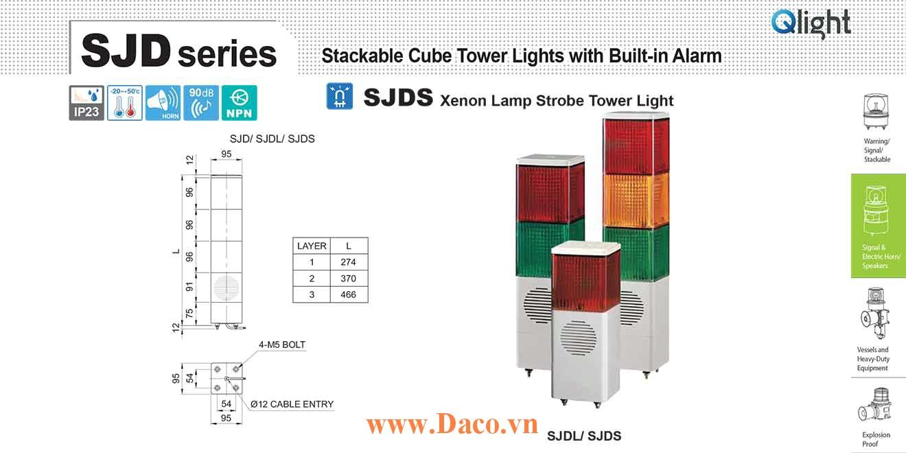 SJDS-WV-3-220-RAG Đèn tháp vuông chớp nháy Qlight 3 tầng Vuông 95mm Xenon 220VAC IP23